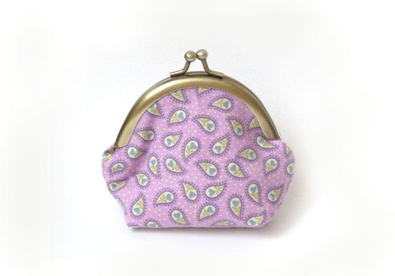 Lilac Paisley Print Coin Purse Key Pouch Change Purse iPhone Earbud Case with Green and Cream Decorative Lining