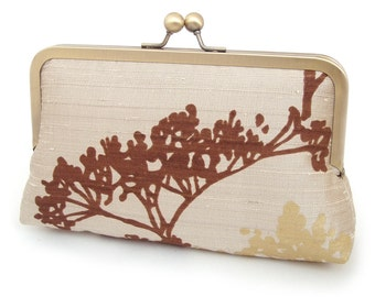 SALE: Clutch bag, silk purse, wedding bag, bridesmaid gift, brown, taupe, gold, SEEDHEAD