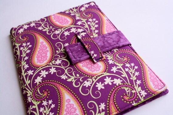 iPad case stand Plum Paisley fabric iPad cover