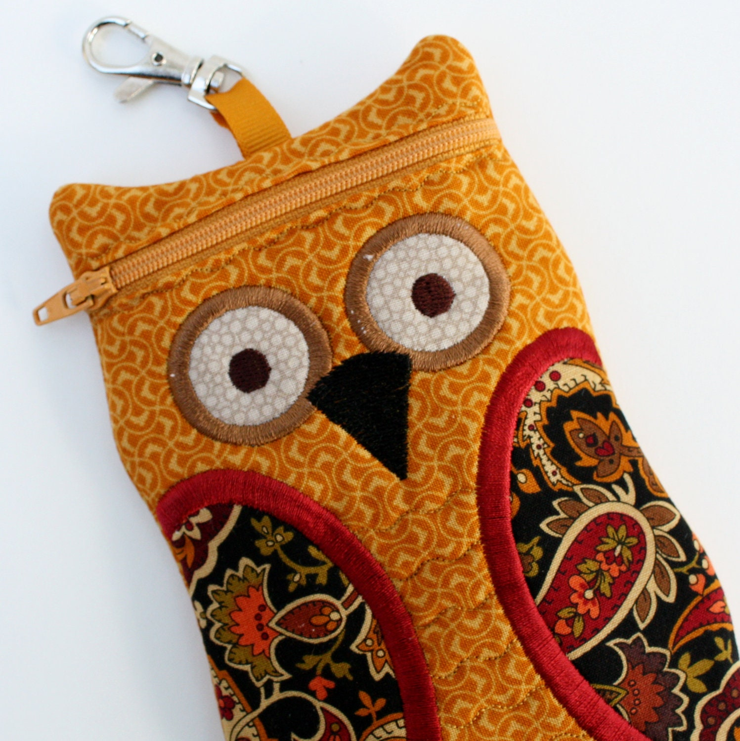 Fabric iphone case Mustard and Paisley Owl Cell by sewingamity
