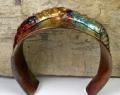 Hammered Copper Cuff, Colorful Patina, a Rustic, Fold Formed, Forged and Stamped Copper Cuff Bracelet- Wrist Tiara