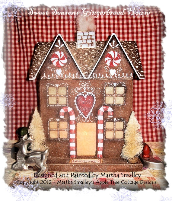 "E Pattern - ""Sweet Seasons Gingerbread House"" - Martha Smalley's Apple Tree Cottage Designs"
