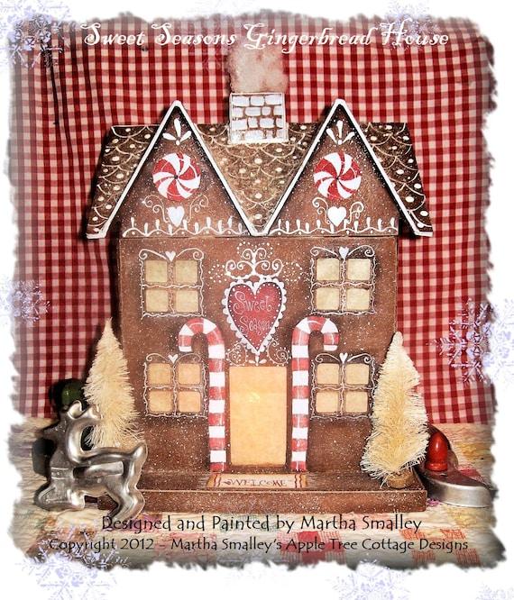 "E Pattern - ""Sweet Seasons Gingerbread House"" - Martha Smalley's Apple Tree Cottage Designs"