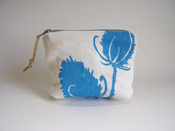 Screenprinted Linen Pouch, Field Sketch, Aqua Blue Thistles