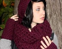 SET The Favorite Cowl Hood scarf slouch Wool Hat Fingerless Glove radiant orchid plum purple