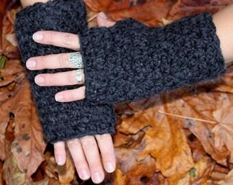fingerless gloves hand warmers winter Charcoal black