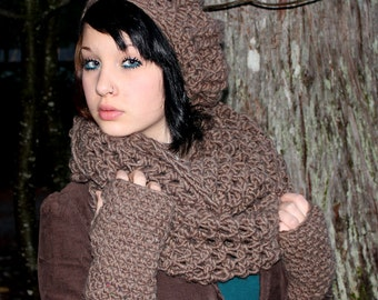 SET The Favorite Cowl Hood scarf oversized slouch Hat Fingerless Glove bark brown