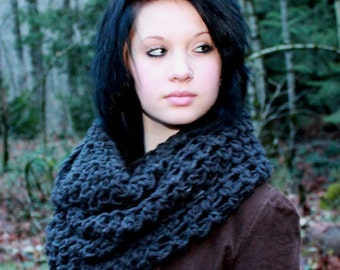 The Favorite Cowl neck scarf eternity Chunky Wrap charcoal black