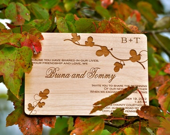 Wooden Wedding Invitation - Real Wood - Fall Leaves Design