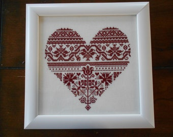 Monochromatic heart - Cross stitch- Reaserved for D