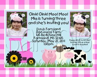 Custom Printable Pink Barnyard Farm Birthday Party Invitation