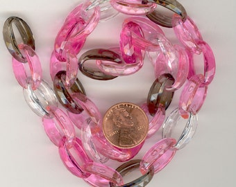 60 Vintage Plastic Faceted Links: 60 Plus Links  For 3 Feet of  Chain in Pink,Rose,Crystal, And Gray. 19x14x6mm  Links