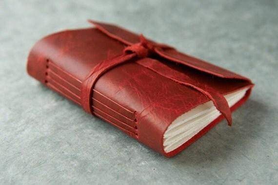 Leather Journal or Sketchbook - Red