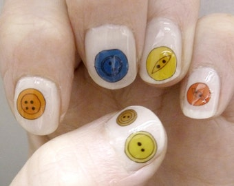 button nail transfers - illustrated craft nail art decals - buttons , sewing , stitching - stickers