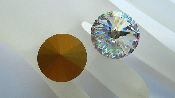 Vintage 18mm, Article 1122 Swarovski Rivoli, Gold Foiled Stones