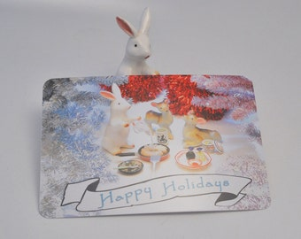 Happy Holidays Postcards--Pack of 8 featuring ceramic animal figurines and tiny Japanese foods
