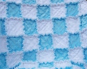 Only for boys Soft and sweet blue and white minky baby rag quilt 32x41