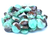 Faceted Bicolor Chrysoprase Nuggets - 4 Beads - 12mm x 10mm - Drilled Lengthwise