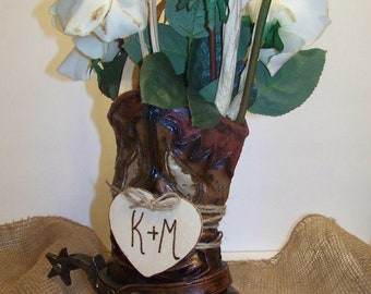 Rustic Wedding Centerpiece-Cowboy Boot Flower Vase with Wooden Heart