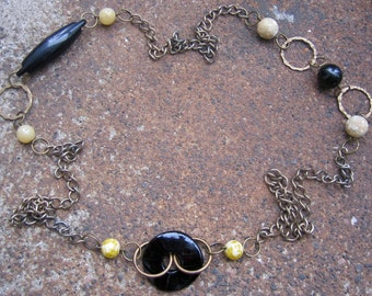 Eco-Friendly Statement Necklace - Blank Canvas - Recycled Chunky Vintage Chain, Hammered Brass Hoops and Black and Tan Beads