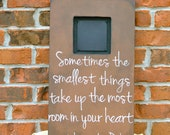 Hand Painted 20x12 inch Memory Frame with Quote, Brown