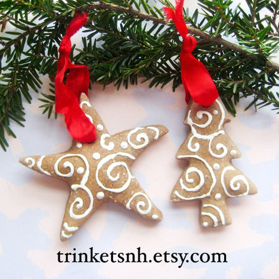 Hand Made Salt Dough Cinnamon Christmas Ornaments With Painted