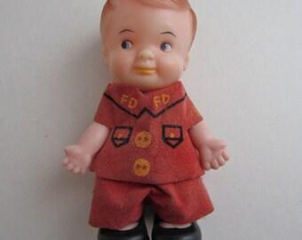Vintage Old UNEEDA Rubber Head Fireman Doll Marked Uneeda Hong Kong 1966,Hee Wee Doll