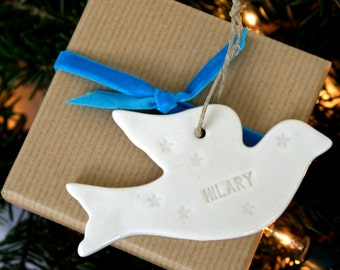 SALE Lucky Dip, Personalized Porcelain Dove Decoration, Porcelain Ornament