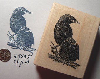 P27 Crows-birds rubber stamp