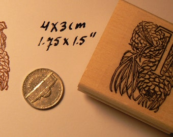 P41 Letter T with pinecones decoration rubber stamp