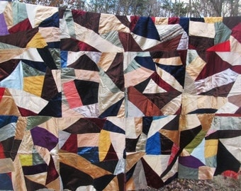 SALE Antique 1930's Twin Size Satin Earthtone Crazy Quilt Top, Feed Sack Lining Was 125.00 Now 99.99