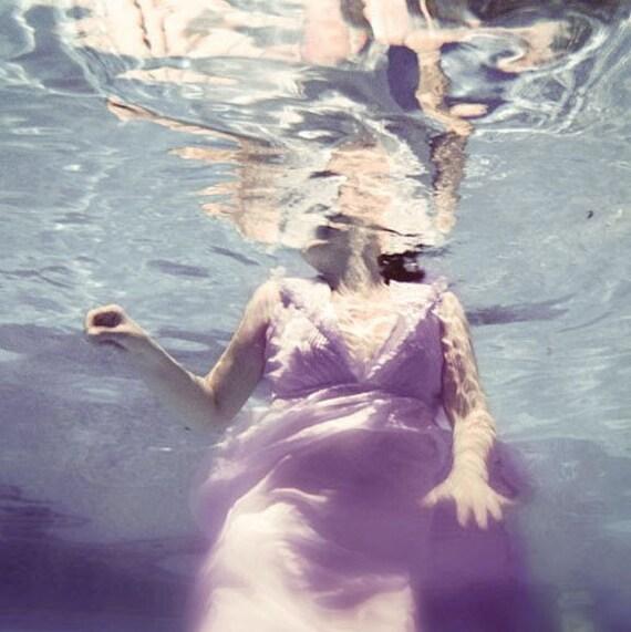 Underwater Photography, Dive, 5x5 Print,  Surreal Portrait, Violet Blue Color, Female Swimming Photograph