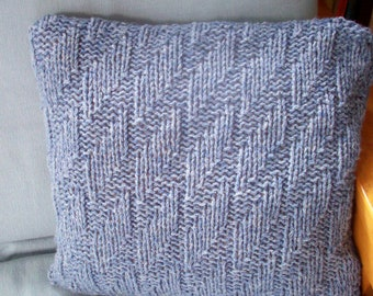 Throw pillow cushion cover hand knit chunky gray blue textured by SpinningStreak