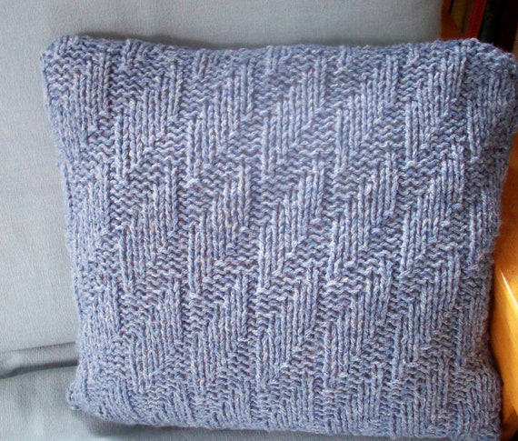 Knit Throw Pillow Cover Pattern : Items similar to Throw pillow cushion cover hand knit chunky gray blue textured by ...