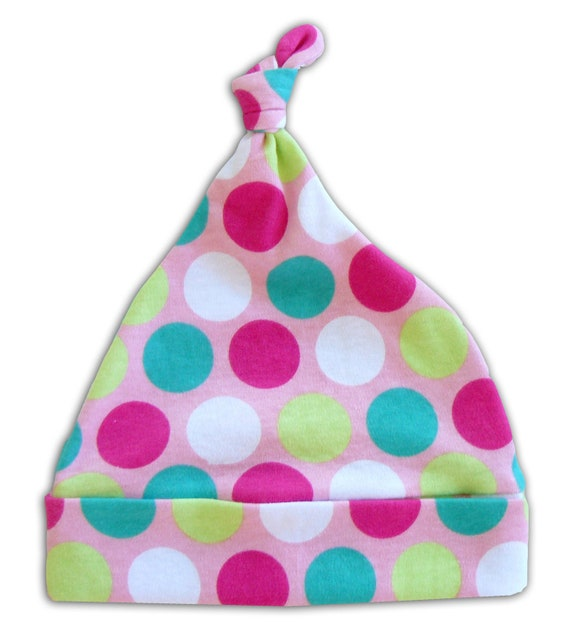 Baby Tie Knot Beanie in Ice Cream Dots