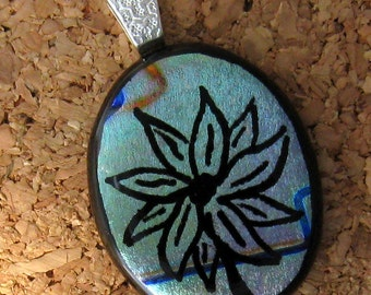 Hand Etched Dichroic Pendant - Dichroic Flower Pendant - Fused Glass Pendant - Etched Glass - Dichroic Jewelry