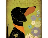 DACHSHUND farmers market flowers graphic illustration on gallery wrapped canvas by stephen fowler