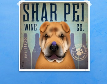 Shar Pei wine company original illustration giclee archival print by stephen fowler Pick A Size