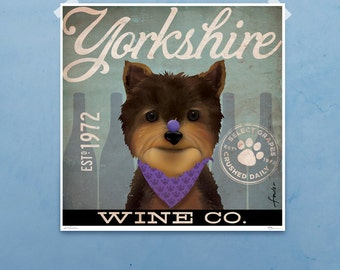 Yorkie Yorkshire Terrier Winery original graphic art giclee signed artists print by Stephen Fowler