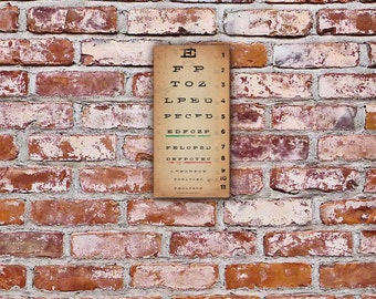 EYE exam chart vintage style graphic artwork on gallery wrapped canvas by stephen fowler