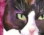 Tuxedo Cat Art Print of Original Watercolor Painting - 8x10