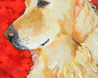 Golden Retriever Dog Art Print of Original Acrylic Painting - 8x10