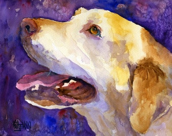 Labrador Retriever Art Print of Original Watercolor Painting - 8x10 Yellow Lab