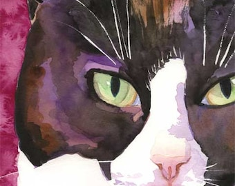 Tuxedo Cat Art Print of Original Watercolor Painting - 8x10