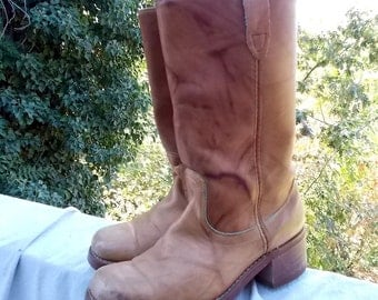Acme Boot Mans sz 8D Classic Dingo Style large Chunky Heel Squared Toe Antique Leather possible Lady sz 9.5