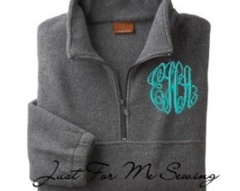 Monogrammed 1/2 zip pullover jacket Personalized Bridesmaids Gifts-Adult Sizes