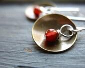 Carnelian Earrings, Orange Carnelian Gemstone Metalwork Antiqued Brass Dome Dangle Drop Earrings