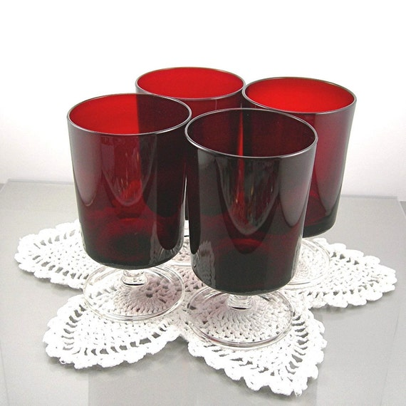 Red Kitchen Glassware: Vintage Red Luminarc Goblets Drinking Glasses Set Of 4 Made In