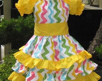 Yellow Girl Dress, Mystic Sunshine Triple Ruffle Peasant Dress, Girl Ruffle Dress, Twirly Skirt, Princess Dress, Tea Time Girl Dress