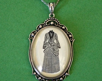Silhouette Art Necklace, Pendant on Chain - VICTORIAN DRESS Necklace - Silhouette Jewelry